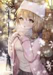 1girl :o blush brown_eyes brown_hair hands_up hat lamppost looking_at_viewer medium_hair original outdoors pink_coat scarf shichimi snowflakes snowing solo standing sweater visible_air white_hat white_scarf