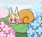 1girl animal_ear_fluff animal_ears animalization bangs blonde_hair blue_flower blush clouds cloudy_sky conch day eyebrows_visible_through_hair flower fox_ears hair_between_eyes hydrangea jitome kemomimi-chan_(naga_u) long_hair looking_at_viewer naga_u original outdoors pink_flower rain red_eyes sidelocks sky snail snail_girl solo