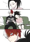 1boy 1girl black_hair blue_eyes boku_no_hero_academia book burn_scar comic commentary_request couch facial_scar grey_eyes head_on_another's_shoulder heterochromia highres loli_bushi long_hair multicolored_hair ponytail redhead scar sitting sleeping sweatdrop todoroki_shouto two-tone_hair white_hair yaoyorozu_momo