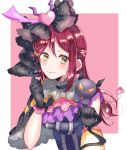 1girl black_gloves blush capelet character_request demon earrings feathers frilled_shirt_collar frills gloves hair_feathers hair_ornament hairclip half_updo heart heart_earrings heart_hair_ornament highres holding_lantern horns jewelry kaisou_(0731waka) lantern long_hair looking_at_viewer love_live! love_live!_sunshine!! on_shoulder pink_background pink_feathers redhead sakurauchi_riko smile upper_body v-shaped_eyes yellow_eyes