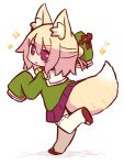 1girl animal_ear_fluff animal_ears arm_up bangs bell bell_collar blonde_hair blush brown_collar collar eyebrows_visible_through_hair fox_ears fox_girl fox_tail full_body green_shirt hair_between_eyes hair_bun hair_ornament jingle_bell kemomimi-chan_(naga_u) long_sleeves looking_at_viewer looking_back naga_u original parted_lips pleated_skirt purple_skirt red_eyes red_footwear ribbon-trimmed_legwear ribbon_trim sailor_collar shirt shoe_soles sidelocks skirt sleeves_past_fingers sleeves_past_wrists solo sparkle standing standing_on_one_leg tail thigh-highs white_legwear white_sailor_collar zouri