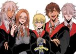 2girls 3boys ahoge artoria_pendragon_(all) blonde_hair blue_eyes blush braid breasts brown_hair closed_mouth collared_shirt dark_skin earrings excalibur facial_mark fate/grand_order fate_(series) french_braid glasses green_eyes harry_potter highres hogwarts_school_uniform holding holding_sword holding_weapon jewelry karna_(fate) large_breasts leonardo_da_vinci_(fate/grand_order) looking_at_viewer matching_outfit matimatio multiple_boys multiple_girls necktie open_mouth ozymandias_(fate) robe saber shirt siegfried_(fate) simple_background smile sword weapon white_background white_hair yellow_eyes