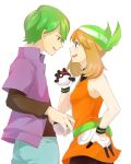 1boy 1girl absurdres bandanna black_legwear black_undershirt blue_eyes breasts brown_hair commentary_request creatures_(company) dress eye_contact game_freak gloves green_hair green_jacket haruka_(pokemon) hetero highres holding holding_poke_ball jacket looking_at_another multicolored multicolored_clothes multicolored_gloves nintendo pantyhose poke_ball pokemon pokemon_(anime) short_dress short_hair shuu_(pokemon) sidelocks sleeveless sleeveless_dress small_breasts wata_miya_(shiro_momen)