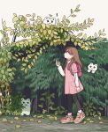 ! 1girl animal backpack bag bear black_pants brown_hair highres holding holding_leaf in_tree leaf long_hair long_sleeves nokanok original pants pink_backpack pink_shirt plant profile shirt shoes short_sleeves smile tree white_sky