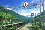 bush clouds fence hill mirror no_humans original outdoors overgrown plant power_lines railroad_tracks rural scenery shi_yu sign sky train_station tunnel vines