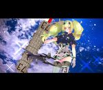 1girl aircraft anno88888 belt blonde_hair blue_eyes blue_shirt breast_pocket breasts clouds cloudy_sky collared_shirt commentary_request cowboy_shot flight_deck gambier_bay_(kantai_collection) gloves hair_between_eyes hairband highres kantai_collection large_breasts multicolored multicolored_clothes multicolored_gloves outdoors pocket shirt shorts sky solo thigh-highs twintails white_legwear