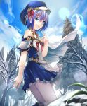 1girl :d artist_request bare_shoulders bare_tree belt blue_eyes blue_hair blue_skirt clouds cloudy_sky cygames eyebrows_visible_through_hair frills gold_trim hat hat_ribbon lens_flare looking_at_viewer miriam_(shadowverse) official_art open_mouth pantyhose ribbon shadowverse short_hair skirt sky smile snow spruce tree
