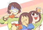 3others =_= androgynous blue_shirt bob_cut brown_hair bucket chara_(undertale) closed_eyes deltarune eating fried_chicken frisk_(undertale) green_shirt ketchup kfc kris_(deltarune) licking_lips multiple_others red_eyes shaded_face shirt short_hair striped striped_shirt tongue tongue_out ukiyo199 undertale
