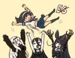 4girls ahoge aircraft_carrier_water_oni arms_up battleship_hime black_hair bow choker claws closed_eyes comic detached_sleeves dress hachimaki hair_between_eyes hair_bow hair_ornament headband horns kantai_collection long_hair long_sleeves midriff multiple_girls open_mouth otoufu pleated_skirt red_eyes remodel_(kantai_collection) school_uniform seaplane_tender_hime serafuku shinkaisei-kan skirt sleeveless sleeveless_dress smile ushio_(kantai_collection) white_hair yellow_background