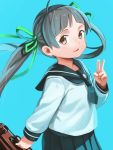 1girl :d ahoge blue_background briefcase brown_eyes green_ribbon grey_hair hair_ribbon hakozaki_serika hand_up highres idolmaster idolmaster_million_live! imai_hiyoko long_sleeves looking_at_viewer open_mouth ribbon school_uniform simple_background smile solo standing twintails upper_body