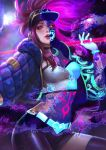 1girl abigail_diaz akali baseball_cap bracelet breasts choker cleavage hat highres idol jacket jewelry k/da_(league_of_legends) k/da_akali league_of_legends makeup mask midriff navel ponytail purple_hair solo ultraviolet_light yellow_eyes