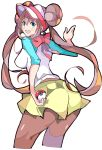 1girl :d bangs blue_eyes blush breasts brown_hair brown_legwear creatures_(company) double_bun enpe eyebrows_visible_through_hair game_freak highres holding holding_poke_ball medium_breasts mei_(pokemon) nintendo open_mouth pantyhose pantyhose_under_shorts poke_ball poke_ball_(generic) pokemon pokemon_(game) pokemon_bw2 raglan_sleeves round_teeth shirt shorts simple_background sleeves_past_elbows smile solo teeth twintails visor_cap white_background yellow_shorts