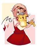 1girl bangs blonde_hair blush_stickers covered_face cowboy_shot creatures_(company) crystal detective detective_pikachu eyewear_on_head flandre_scarlet game_freak gen_1_pokemon hat holding holding_pokemon nintendo one_eye_closed pikachu pointy_ears pokemon pokemon_(creature) puffy_short_sleeves puffy_sleeves red_eyes red_skirt red_vest shirt short_sleeves side_ponytail skirt smile sunglasses touhou vest white_shirt yoruny