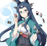 1girl aa_gun anchor animal_ears azur_lane black_hair blue_eyes breasts card emblem glasses gloves gudon_(iukhzl) hair_ornament hanafuda japanese_clothes long_hair looking_at_viewer medium_breasts partly_fingerless_gloves rabbit_ears simple_background skirt smile solo souryuu_(azur_lane) turtleneck underbust white_background wide_sleeves