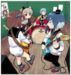 4girls amatsukaze_(kantai_collection) amplifier anchor_symbol band bangs bass_guitar black_legwear black_sailor_collar blouse blunt_bangs border brown_dress brown_hair cable cameo closed_eyes closed_mouth commentary_request dress drum drum_set drumsticks electric_guitar facing_another finger_gun fisheye garter_straps grey_footwear guitar hatsukaze_(kantai_collection) headset holding holding_instrument indoors instrument kantai_collection lifebuoy light_blue_hair long_hair long_sleeves looking_at_another multiple_girls music naka_(kantai_collection) neckerchief open_mouth orange_eyes outstretched_leg platinum_blonde_hair playing_instrument red_footwear room rudder_shoes sailor_collar sailor_dress shirt short_dress short_hair short_hair_with_long_locks sidelocks sideways_mouth sign sitting sleeve_cuffs socks standing straight_hair thick_eyebrows tokitsukaze_(kantai_collection) tonmoh translated two_side_up wall white_border white_pupils white_shirt wooden_floor wooden_wall yellow_neckwear yukikaze_(kantai_collection)