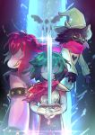 1boy 1girl 1other armor black_fur blue_skin capelet deltarune glasses glint gloves green_eyes green_hat hair_over_eyes hat holding holding_sword holding_weapon kris_(deltarune) long_hair pink_hair pink_scarf pink_skin ralsei sagta_panggang scarf studded_armlet studded_bracelet susie_(deltarune) sword teeth weapon