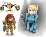 1girl arm_cannon blonde_hair blue_eyes blush breasts earrings highres jewelry long_hair metroid mole nintendo ponytail power_armor power_suit samus_aran simple_background wakaba_(wata_ridley) weapon zero_suit