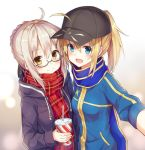 2girls :d ahoge artoria_pendragon_(all) baseball_cap black-framed_eyewear black_hat black_ribbon black_sweater blonde_hair blue_eyes blue_scarf blue_sweater blush braided_bun cardigan eyebrows_visible_through_hair fate/grand_order fate_(series) glasses hair_between_eyes hair_ribbon hat huwali_(dnwls3010) long_hair looking_at_viewer multiple_girls mysterious_heroine_x mysterious_heroine_x_(alter) open_cardigan open_clothes open_mouth outstretched_arm ponytail red_scarf ribbon scarf self_shot semi-rimless_eyewear silver_hair smile sweater under-rim_eyewear yellow_eyes