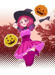 1girl boots corset dress facepaint frilled_skirt frills full_body gabayo gloves hair_ornament halloween hat hugtto!_precure jack-o'-lantern jumping long_hair nono_hana open_mouth pink_eyes pink_hair polka_dot polka_dot_background precure pumpkin round_teeth shaded_face shiny shiny_skin skirt solo teeth tree upper_teeth wand witch_hat x_hair_ornament