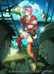 1girl 2boys boots breastplate clouds day dress elbow_gloves facial_scar fingerless_gloves fire_emblem fire_emblem:_souen_no_kiseki gloves grin holding holding_spear holding_weapon index_finger_raised marcia multiple_boys nintendo ocean open_mouth outdoors pink_hair polearm red_footwear red_gloves scar scar_on_cheek short_dress short_hair short_sleeves shoulder_armor smile spaulders spear sweatdrop thigh-highs thigh_boots unicorn weapon white_dress