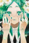 1other absurdres androgynous colored_eyelashes crystal_hair daisy flower flower_ring gem_uniform_(houseki_no_kuni) green_eyes green_hair highres houseki_no_kuni looking_at_viewer necktie phosphophyllite short_hair smile solo sparkle upper_body
