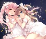 2girls ;d bangs bare_shoulders black_background blue_eyes blush bow breasts brown_eyes brown_hair bunny_hair_ornament closed_mouth collarbone commentary_request detached_sleeves dress eyebrows_visible_through_hair followers frilled_dress frills hair_bow hair_ornament hands_together hug lace_trim leaning_on_person long_hair looking_at_viewer looking_back medium_breasts mochizuki_shiina multiple_girls one_eye_closed one_side_up open_mouth original panties pink_hair puffy_short_sleeves puffy_sleeves short_sleeves sidelocks simple_background smile spaghetti_strap star starry_background twintails underwear white_bow white_dress white_panties