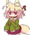 1girl anger_vein animal_ear_fluff animal_ears bangs bell bell_collar blush brown_collar closed_mouth collar cowboy_shot eyebrows_visible_through_hair fox_ears fox_girl fox_tail furrowed_eyebrows green_shirt hair_between_eyes hair_bun hair_ornament jingle_bell kemomimi-chan_(naga_u) long_sleeves looking_at_viewer naga_u orange_neckwear original pleated_skirt purple_skirt ribbon-trimmed_legwear ribbon_trim sailor_collar school_uniform serafuku shirt simple_background skirt sleeves_past_fingers sleeves_past_wrists solo standing tail thigh-highs tied_sleeves v-shaped_eyebrows white_background white_legwear white_sailor_collar