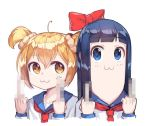 2girls :3 anger_vein bangs blonde_hair blue_eyes blue_hair blush bow censored collarbone hair_between_eyes hair_bow long_hair looking_at_viewer middle_finger mosaic_censoring multiple_girls neckerchief newey no_nose pipimi poptepipic popuko red_bow school_uniform scrunchie serafuku short_hair short_twintails twintails upper_body yellow_eyes