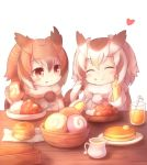 2girls bangs bowl brown_eyes brown_hair butter chewing closed_eyes coat cup curry drinking_glass eating eurasian_eagle_owl_(kemono_friends) eyebrows_visible_through_hair food food_on_face food_request fur_trim gloves hand_on_own_face heart holding holding_food holding_spoon ice ice_cube japari_bun kemono_friends looking_at_another matsuu_(akiomoi) medium_hair multicolored_hair multiple_girls napkin northern_white-faced_owl_(kemono_friends) pancake pitcher pom_pom_(clothes) pom_poms sitting spoon straw table white_background white_hair yellow_gloves