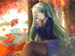 :d autumn_leaves blue_eyes blue_jacket blue_skirt blush brown_legwear coffee copyright_request cup day drink fuupu green_hair highres holding holding_cup jacket long_hair official_art open_mouth outdoors pantyhose pencil_skirt ponytail sitting skirt smile tree very_long_hair vest yellow_neckwear