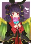 1girl animal_ears bat_ears character_name dragon_wings fake_animal_ears feh_(fire_emblem_heroes) fire_emblem fire_emblem:_seima_no_kouseki fire_emblem_heroes fur_trim halloween_costume highres long_sleeves mamkute multi-tied_hair myrrh nintendo open_mouth otokajife purple_hair red_eyes simple_background solo twintails wings