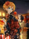 blonde_hair candy_apple duplicate fish food goldfish green_eyes