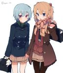 2girls ayanami_rei bag_charm bangs black_neckwear blue_eyes blue_hair blue_jacket blush brown_cardigan brown_gloves brown_hair brown_jacket brown_legwear brown_scarf brown_skirt charm_(object) cowboy_shot eyebrows_visible_through_hair fringe_trim gloves green_scarf hair_between_eyes hand_holding hand_up ikeuchi_tanuma jacket long_hair long_sleeves multiple_girls neon_genesis_evangelion open_clothes open_jacket open_mouth pantyhose parted_lips plaid plaid_scarf pleated_skirt red_eyes scarf school_briefcase school_uniform simple_background skirt souryuu_asuka_langley twitter_username white_background