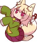 1girl animal_ear_fluff animal_ears bangs bell bell_collar blonde_hair blush brown_collar closed_mouth collar eyebrows_visible_through_hair fox_ears fox_girl fox_tail green_shirt hair_between_eyes hair_bun hair_ornament jingle_bell kemomimi-chan_(naga_u) long_hair long_sleeves looking_at_viewer naga_u orange_neckwear original pleated_skirt purple_skirt red_eyes red_footwear ribbon-trimmed_legwear ribbon_trim sailor_collar school_uniform serafuku shirt sidelocks skirt sleeves_past_fingers sleeves_past_wrists solo tail thigh-highs white_legwear white_sailor_collar