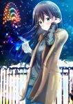 1girl :3 black_hair blue_sky blush brown_coat coat cup ferris_wheel green_eyes hand_up highres holding holding_cup jewelry long_hair necklace night night_sky original outdoors railing ribbed_sweater sky snow solo standing steam sweater tsuyunominaduki