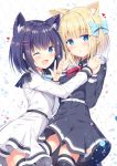 2girls :o ;d animal_ear_fluff animal_ears argyle argyle_background belt belt_buckle black_legwear black_shirt black_skirt blonde_hair blue_bow blue_eyes blue_hair blue_nails blue_neckwear blush bow buckle collared_shirt commentary_request cowboy_shot epaulettes eyebrows_visible_through_hair hair_bow hair_ornament hairclip hand_holding heart highres interlocked_fingers long_sleeves looking_at_viewer multiple_girls nail_polish neck_ribbon one_eye_closed open_mouth parted_lips pleated_skirt red_neckwear ribbon rukiroki sasugano_roki sasugano_ruki shiny shiny_hair shirt short_hair sidelocks simple_background skirt smile thigh-highs tomoo_(tomo) v virtual_youtuber w white_shirt white_skirt yellow_nails zettai_ryouiki