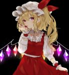 1girl black_background blonde_hair blood cowboy_shot eyebrows_visible_through_hair flandre_scarlet glowing glowing_wings hat highres licking_blood light_particles looking_at_viewer nail_polish red_eyes red_nails red_skirt simple_background skirt solo touhou vampire wings wrist_cuffs yedan yellow_neckwear