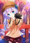 1girl autumn_leaves bangs blue_bow blue_eyes blurry blurry_background blush bow brown_hat brown_skirt cabbie_hat camera chinomaron commentary_request day depth_of_field eyebrows_visible_through_hair flower gochuumon_wa_usagi_desu_ka? hair_between_eyes hair_ornament hands_up hat hat_bow head_tilt highres holding holding_camera kafuu_chino leaf long_hair long_sleeves looking_at_viewer maple_leaf orange_flower outdoors parted_lips purple_hair railing red_skirt signature skirt sleeves_past_wrists solo tree twitter_username very_long_hair x_hair_ornament