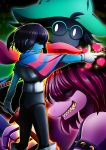 1boy 1girl 1other absurdres blue_skin capelet deltarune glasses green_hat hair_over_eyes hat heart highres holding holding_sword holding_weapon konsu_(konsu1182da) kris_(deltarune) pink_scarf pink_skin pointing profile ralsei scarf spiked_armlet standing susie_(deltarune) sword teeth weapon yellow_eyes