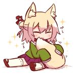 1girl animal_ear_fluff animal_ears bangs blonde_hair blush brown_collar brown_footwear chibi closed_eyes closed_mouth eyebrows_visible_through_hair facing_viewer fox_ears fox_girl fox_tail full_body green_shirt hair_between_eyes hair_bun hair_ornament kemomimi-chan_(naga_u) long_hair long_sleeves naga_u original pleated_skirt purple_skirt ribbon-trimmed_legwear ribbon_trim sailor_collar school_uniform serafuku shadow shirt shoe_soles sidelocks sitting skirt sleeves_past_fingers sleeves_past_wrists solo sparkle tail tail_hug thigh-highs tongue tongue_out white_background white_legwear white_sailor_collar zouri