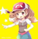 1girl baseball_cap black_shirt blue_shorts blush breasts brown_eyes brown_hair creatures_(company) eevee female_protagonist_(pokemon_lgpe) fingernails game_freak gen_1_pokemon hat kouu_hiyoyo long_hair nintendo on_shoulder outstretched_arm pointing pokemon pokemon_(creature) pokemon_(game) pokemon_lgpe puffy_short_sleeves puffy_sleeves red_hat shirt short_shorts short_sleeves shorts small_breasts star twitter_username yellow_background