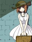 1girl against_wall bangs blush brick_wall brown_eyes brown_hair brown_hat closed_mouth commentary_request cowboy_shot dress flower girls_und_panzer half-closed_eyes hat hat_flower head_tilt holding jewelry looking_at_viewer medium_dress necklace nishizumi_miho noumen picnic_basket shadow short_hair sleeveless sleeveless_dress smile solo standing straw_hat sunflower v_arms white_dress white_pupils