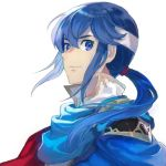 1boy aisutabetao blue_eyes blue_hair cape celice_(fire_emblem) european_clothes fire_emblem fire_emblem:_seisen_no_keifu headband looking_at_viewer nintendo pauldrons ponytail simple_background smile white_background