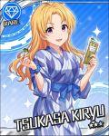 blonde_hair blush character_name idolmaster idolmaster_cinderella_girls kimono long_hair stars tsukasa_kiryuu violet_eyes