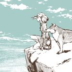 1girl cliff clouds cloudy_sky commentary_request crosshatching day elf from_side hand_up horizon limited_palette looking_afar lowres medium_hair nature original outdoors pointy_ears profile shading_eyes short_sleeves sky squatting