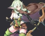 1girl arrow asymmetrical_sleeves black_background black_bow black_gloves boots bow bow_(weapon) brown_shorts cloak cowboy_shot elf gloves goblin_slayer! green_eyes green_hair hair_bow high_elf_archer_(goblin_slayer!) holding holding_weapon hood hooded_cloak kaiend looking_to_the_side pink_lips pointy_ears shorts sidelocks simple_background sleeveless smile solo thigh-highs thigh_boots weapon
