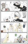 ! 4koma black_hairband blindfold blonde_hair comic dressing dwarf_(goblin_slayer) goblin_slayer goblin_slayer! hairband high_elf_archer_(goblin_slayer!) katana kuroduki_(pieat) lizard_priest(goblin_slayer) long_hair nier_(series) nier_automata pod_(nier_automata) priestess_(goblin_slayer!) short_hair silver_hair sword sword_maiden undressing watch watch weapon white_background yorha_no._2_type_b yorha_no._9_type_s