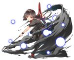 1girl asymmetrical_wings back_cutout black_dress black_hair black_legwear bow brown_footwear commentary_request danmaku dress full_body grin hasebe_yuusaku highres holding holding_weapon houjuu_nue leg_lift looking_at_viewer polearm red_bow red_eyes shoe_bow shoes short_dress short_hair short_sleeves simple_background smile solo standing standing_on_one_leg teeth thigh-highs touhou trident weapon white_background wings wristband