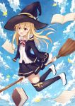1girl :o bangs belly_peek black_coat black_hat black_legwear black_skirt blonde_hair blue_sky blush book bow bowtie broom clouds cloudy_sky coat collared_shirt day eyebrows_visible_through_hair full_body hair_between_eyes hat highres holding holding_broom hood hood_down legs_up long_hair long_sleeves looking_at_viewer midair miniskirt open_book open_clothes open_coat open_mouth original outdoors paper red_eyes red_neckwear ribbon shirt shoes sidelocks skirt sky solo thigh-highs white_footwear white_shirt wide_sleeves witch_hat yang423 yellow_ribbon zettai_ryouiki