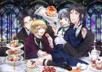4boys alois_trancy black_hair blonde_hair blue_eyes cake candy ciel_phantomhive claude_faustus cookie cup cupcake food fork fruit glasses gloves kuroshitsuji macaron male_focus multiple_boys pancake pastry sebastian_michaelis strawberry sweets teacup tenkei tray white_gloves yellow_eyes